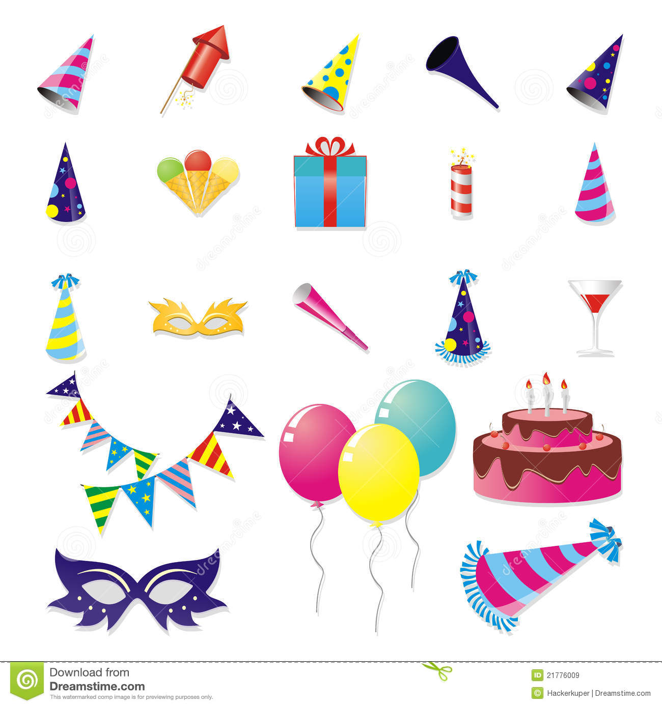 Party Item Set Royalty Free Stock Images - Image: 21776009