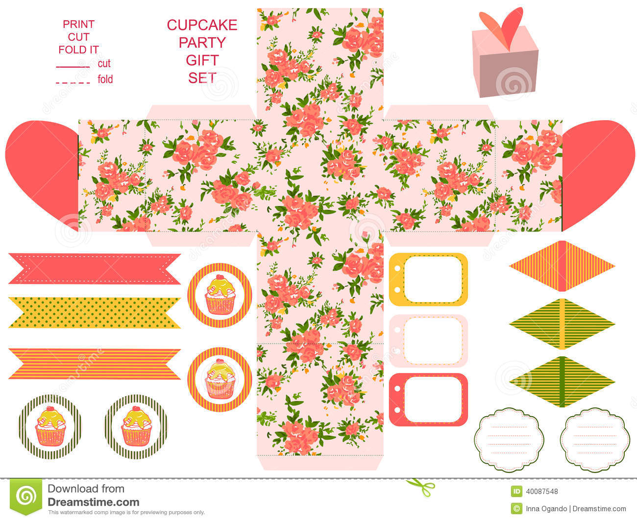 Party Kit Printable Stock Vector Image 40087548