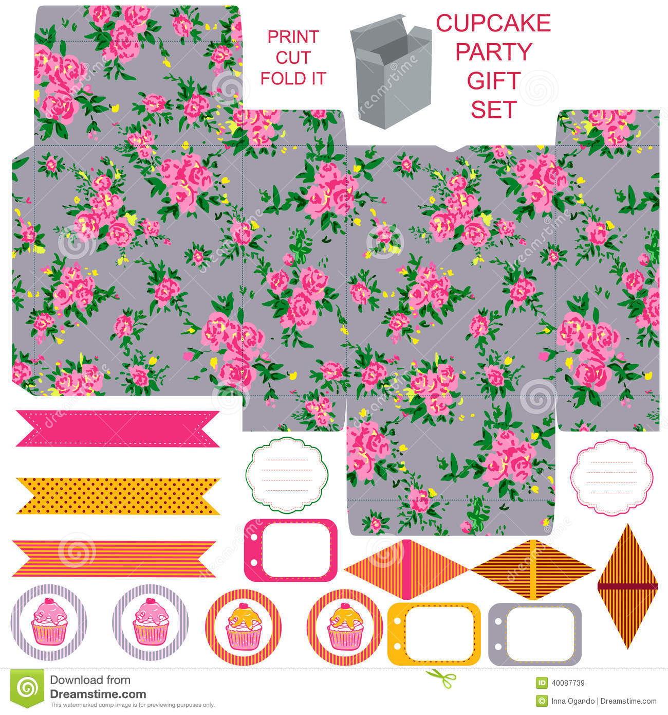 printable gift boxes kit printable stock vector image 40087739 2767