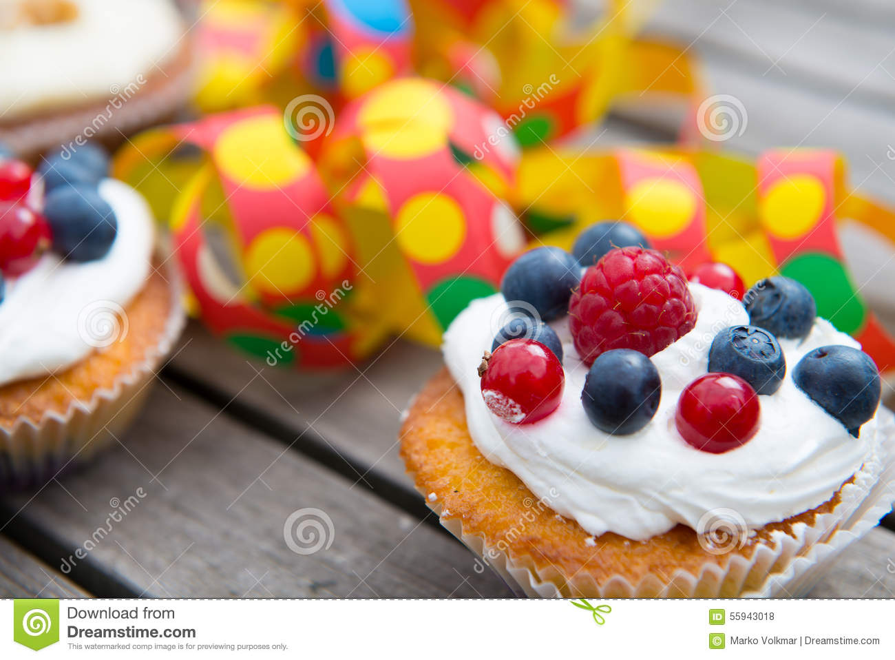 Party Muffins With Fruits On Wooden Ground Stock Photo Image Of