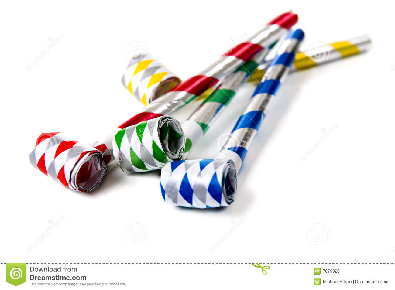 Party Noisemakers on White stock photo. Image of objects ...