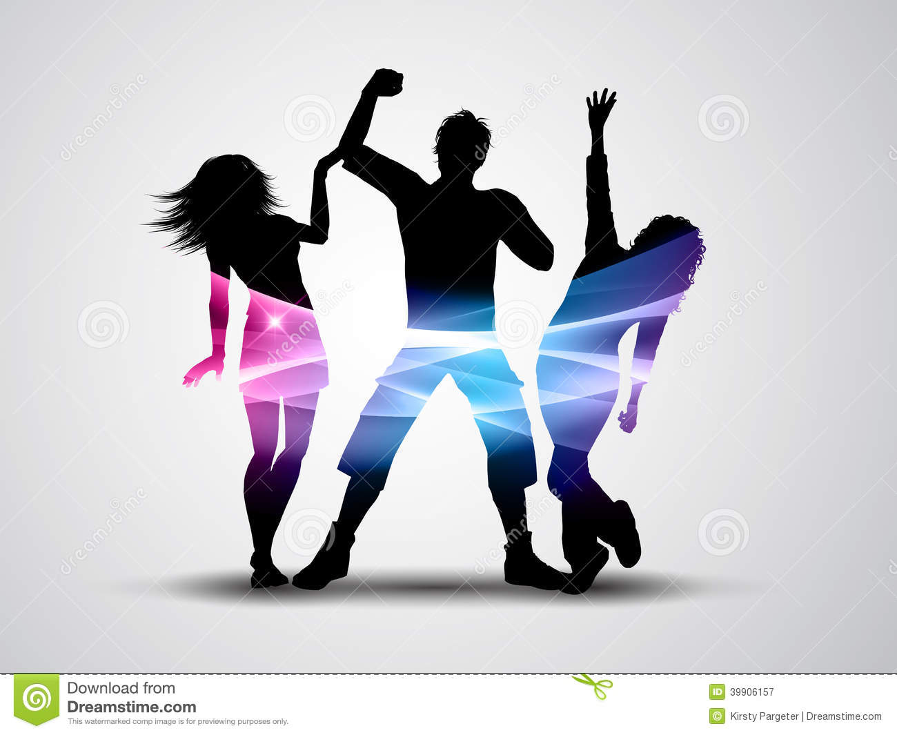 Silhouette Dance Music Abstract Background: Party People Background Stock Vector