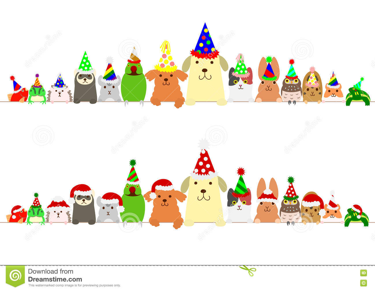 party pets border set stock vector  illustration of