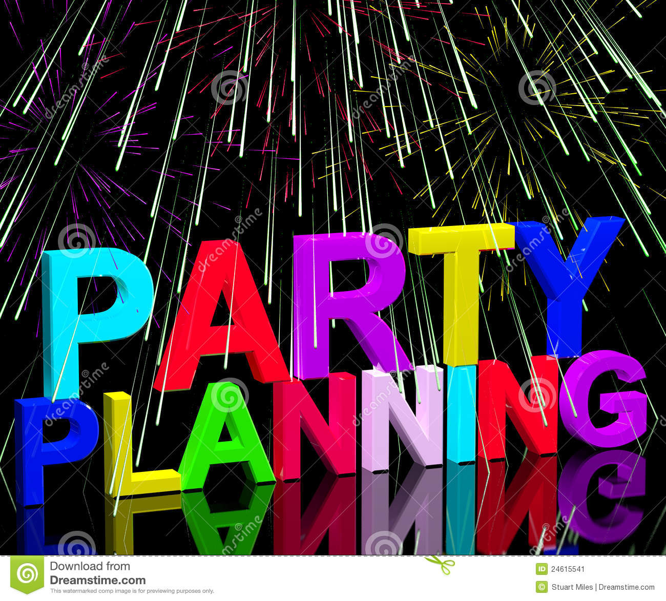 party planning words showing birthday or anniversary celebration