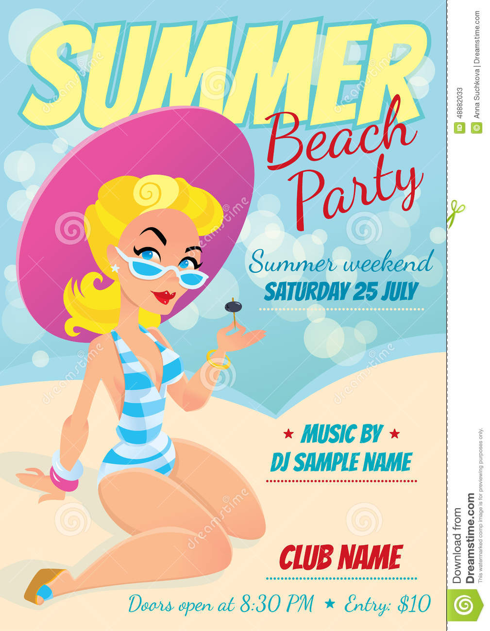 Poster design sample - Design Girl Party Poster Template