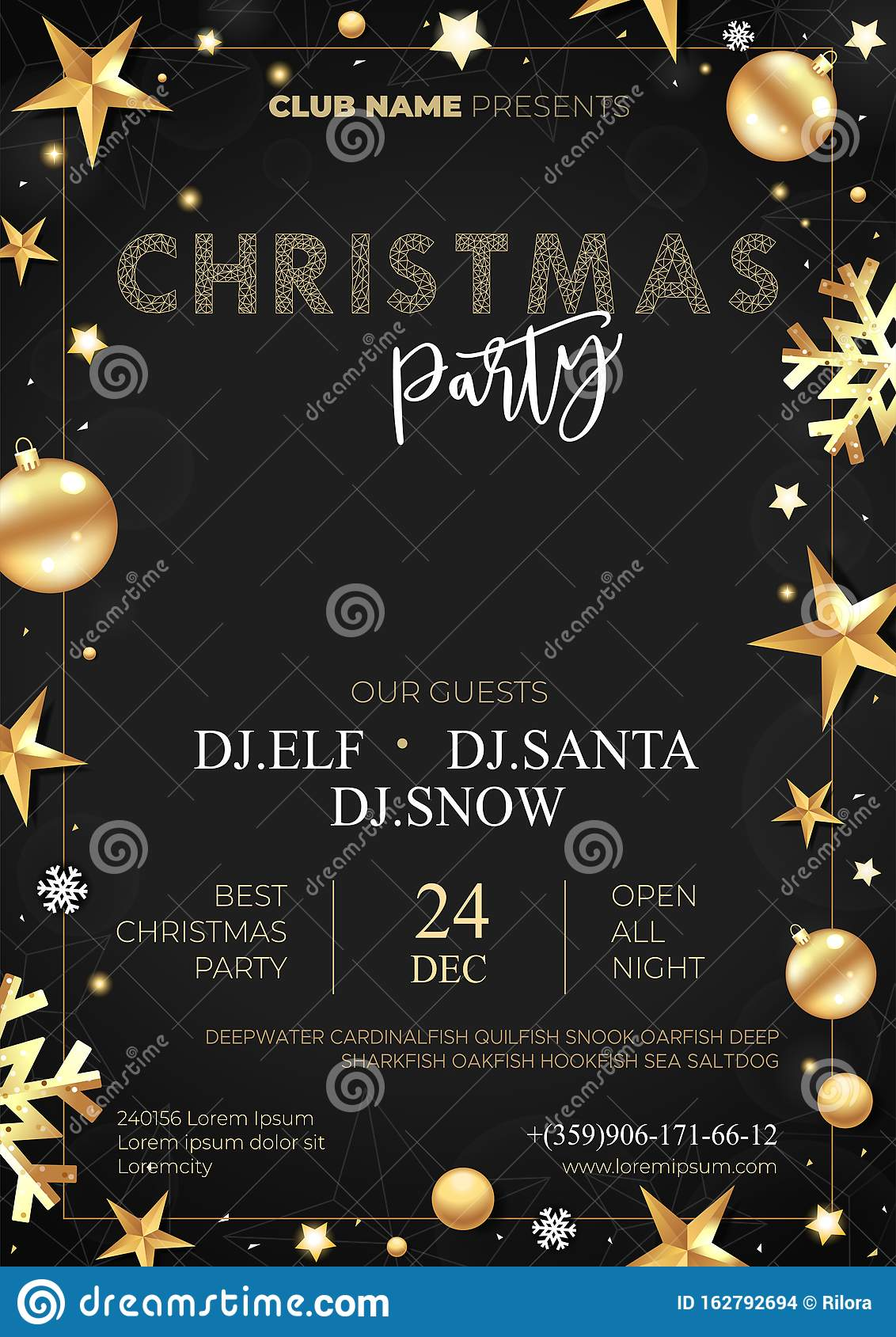Party Poster Merry Christmas Holiday Club Invitation. Vector. Stock Vector  - Illustration of element, card: 162792694