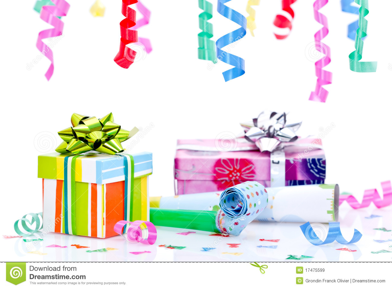 party presents and streamers stock image image of gift colorful