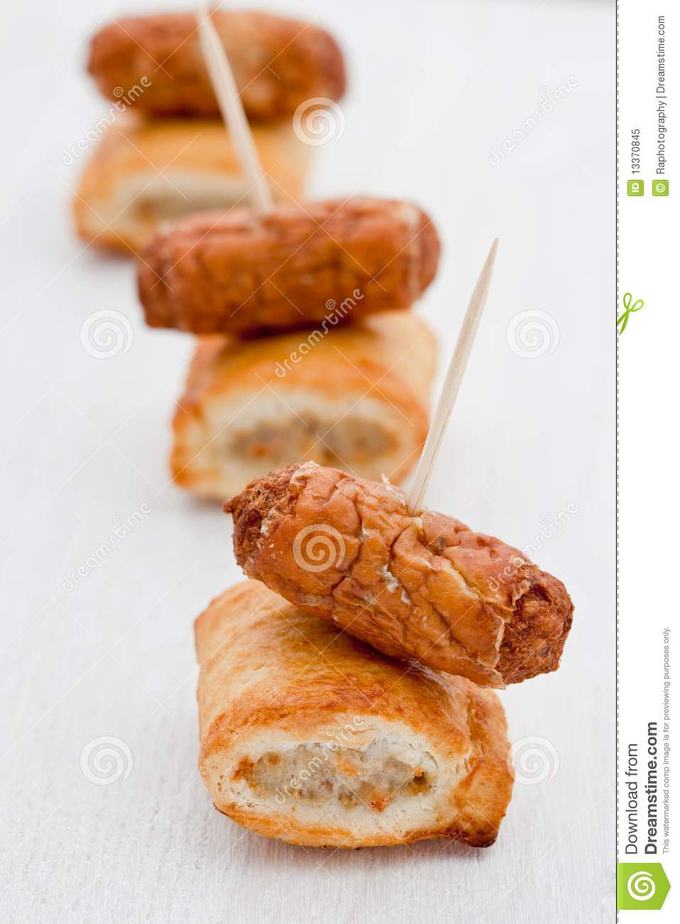 Party Snacks. Sausage Rolls With Cocktail Sausages Royalty