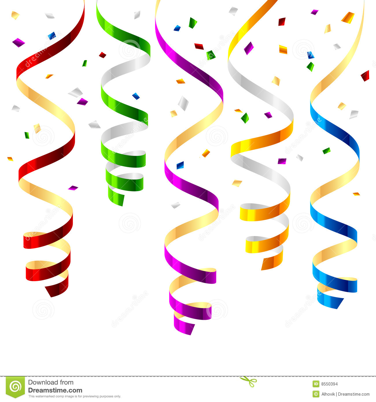 New Years Falling Confetti Party Streamers Stock ...