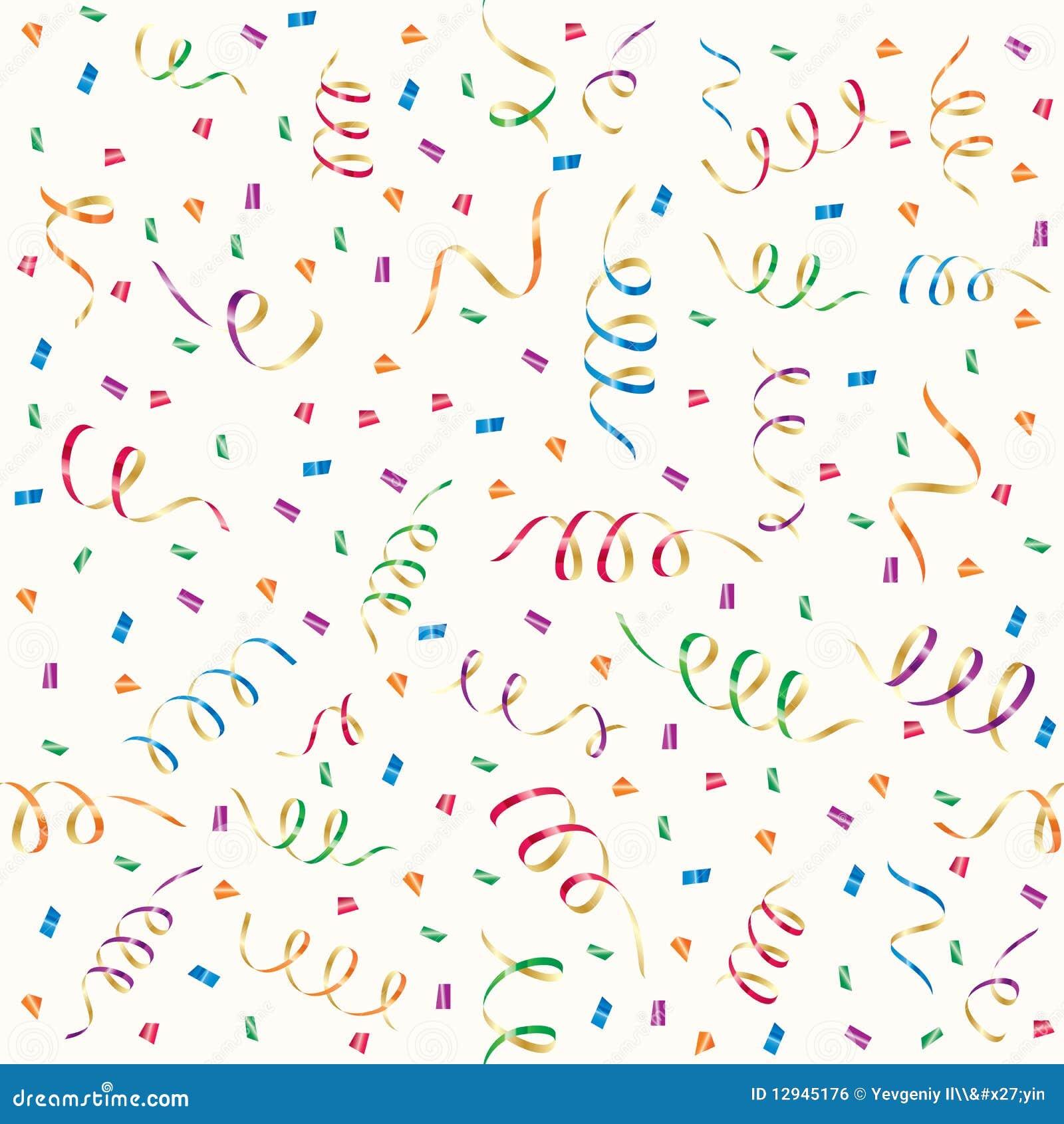 Party Streamers And Multicolored Confetti Stock Vector ...