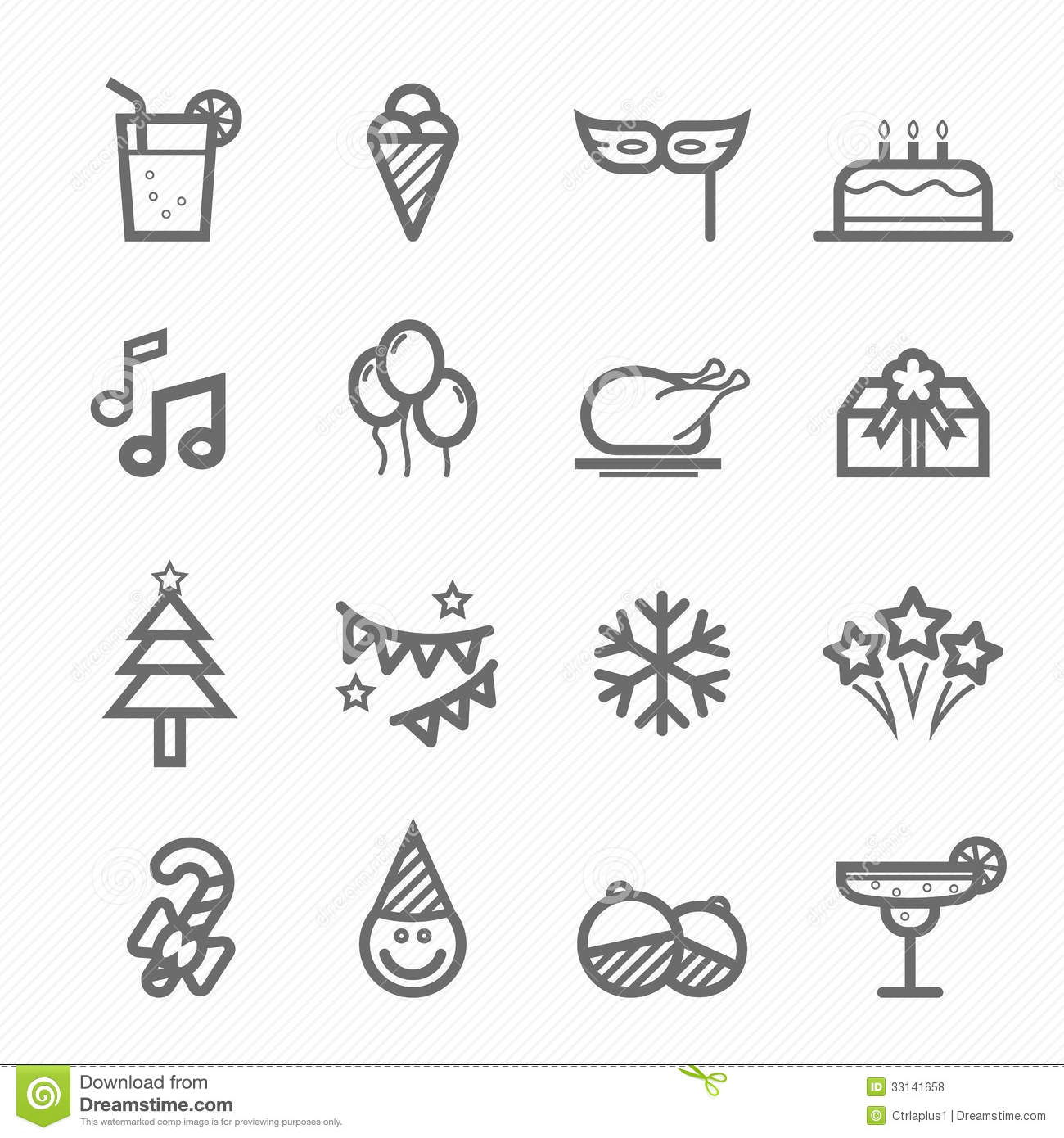 Party Symbol Line Icon Set Royalty Free Stock Photos - Image: 33141658