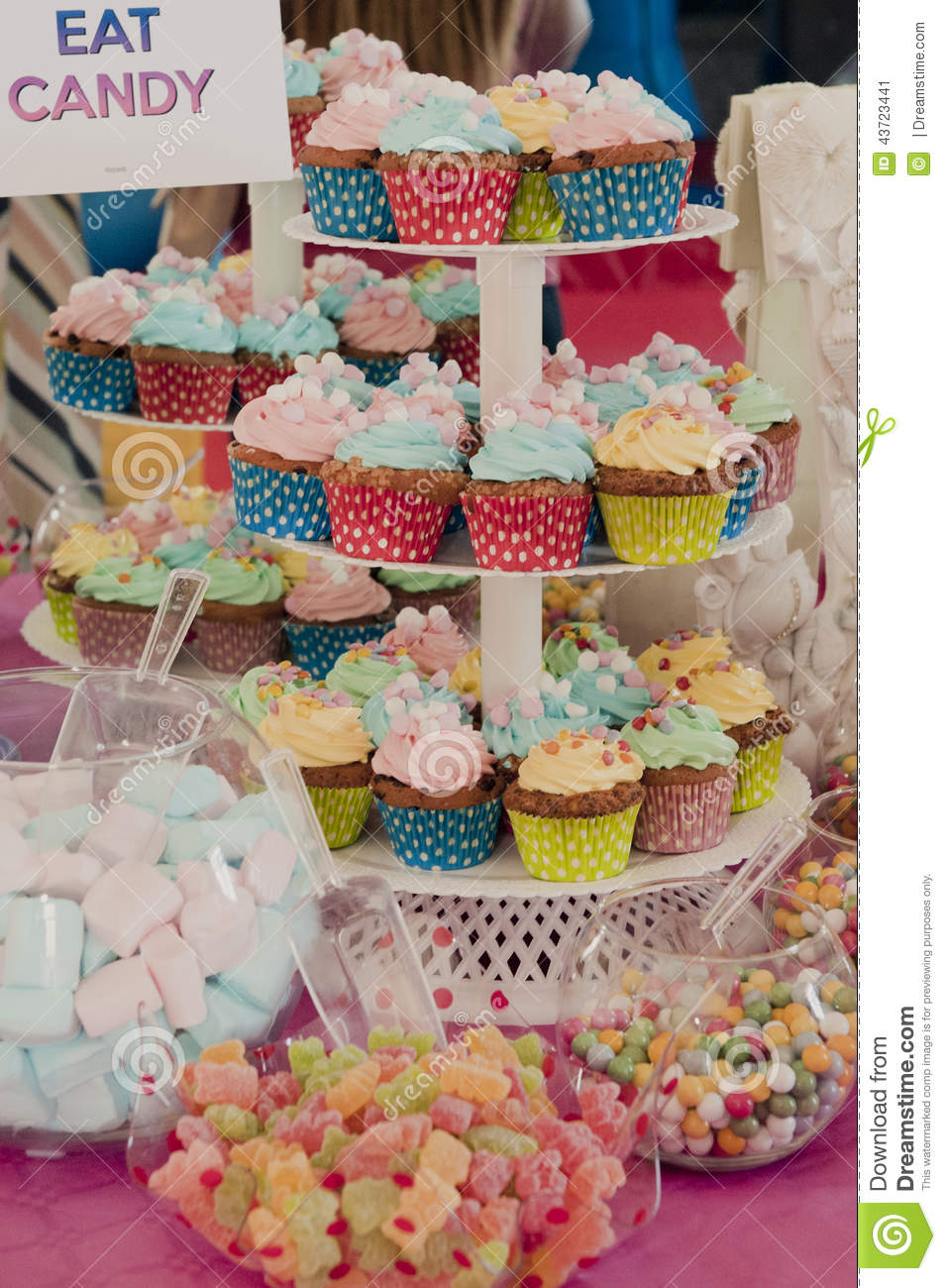 Party Table Muffins Cupcakes Stock Image Image Of Birthday Pastry