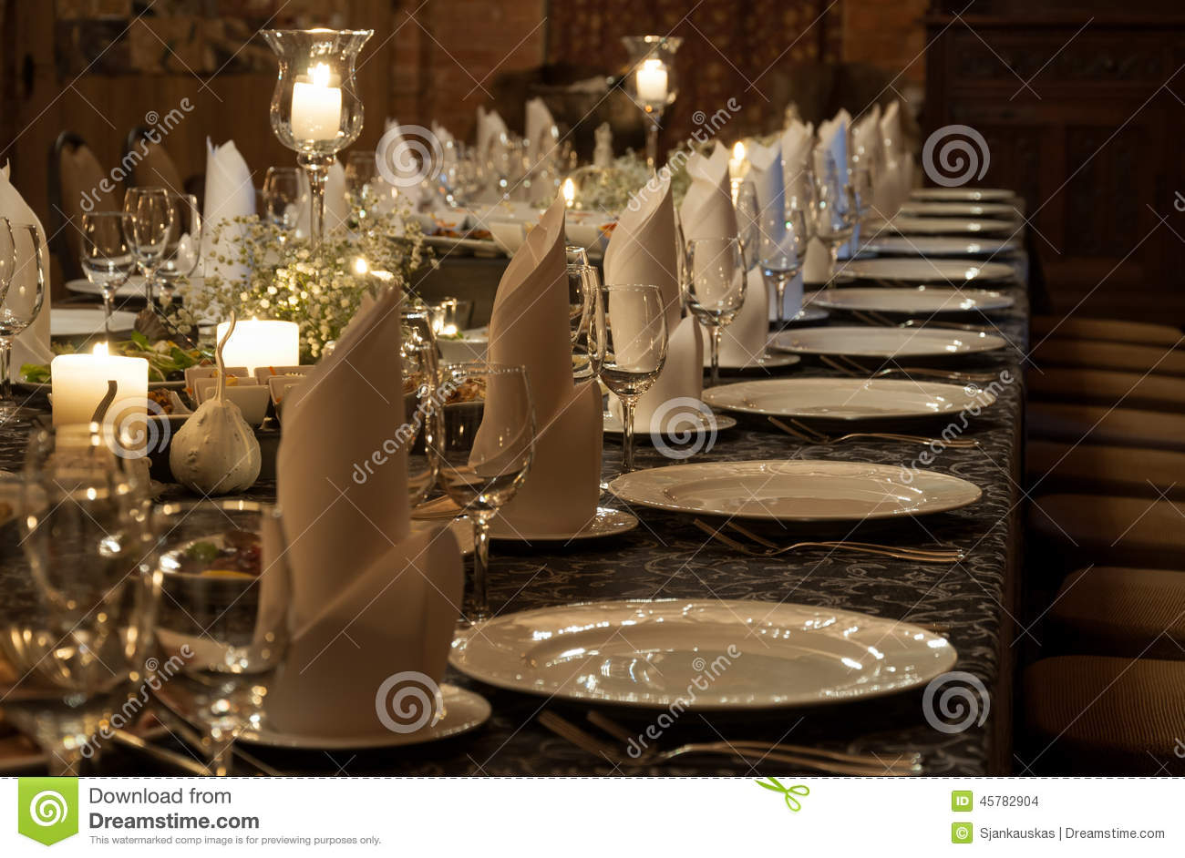 Party Table Setting Lit By Candles Stock Photo Image