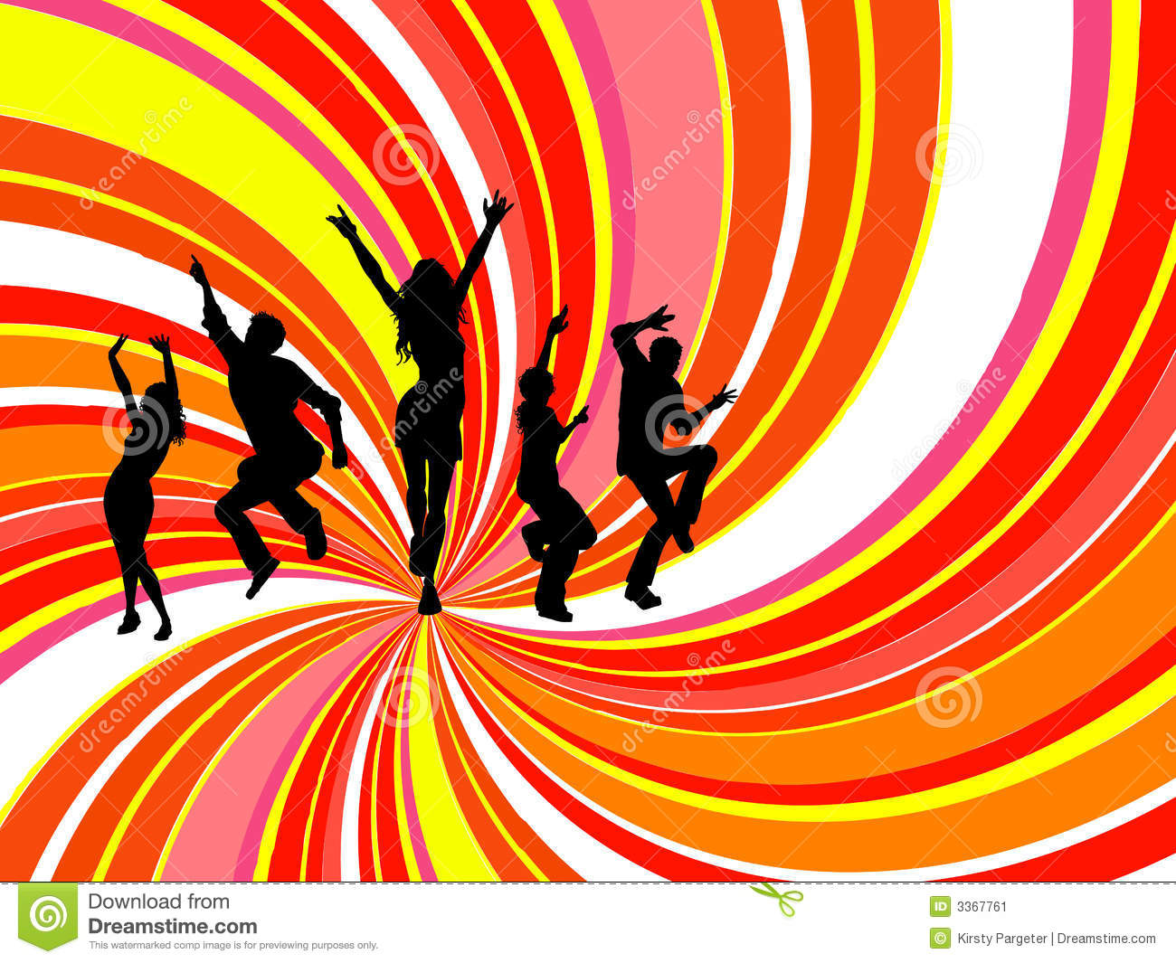 Silhouettes of people dancing on swirl background.