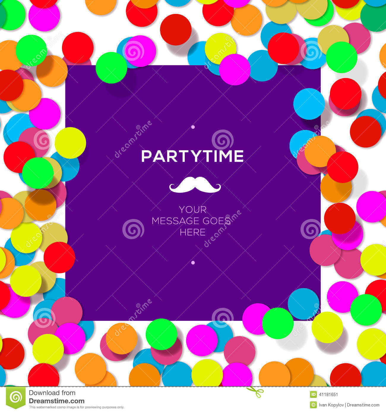 party time design template with confetti  stock vector