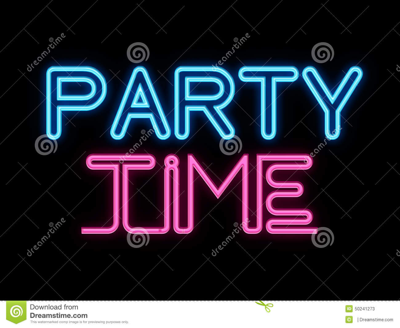 Bar Area Ideas Party Time Neon Sign Stock Illustration Image 50241273