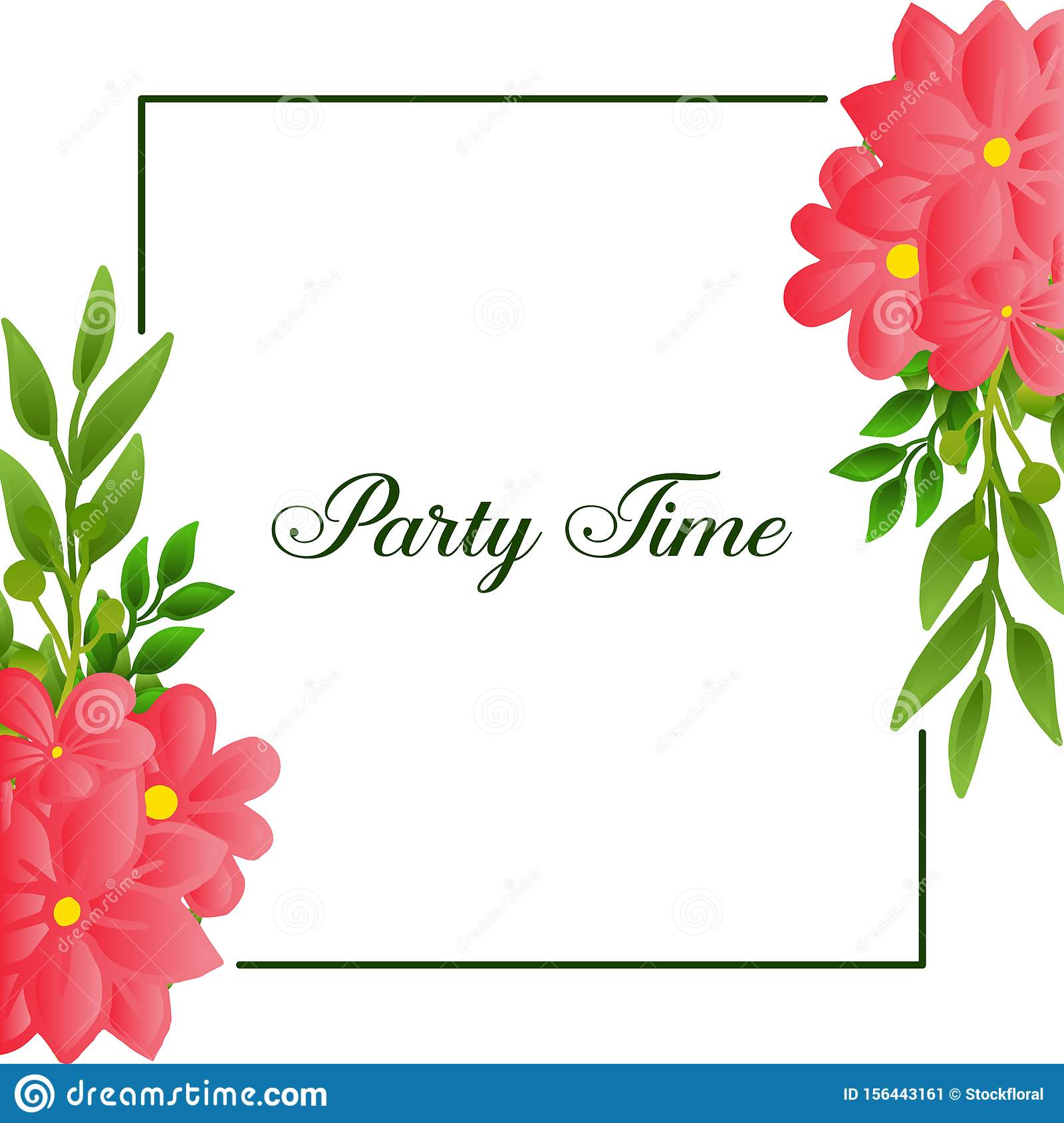 Party time poster design, with graphic beauty of wreath frame. Vector