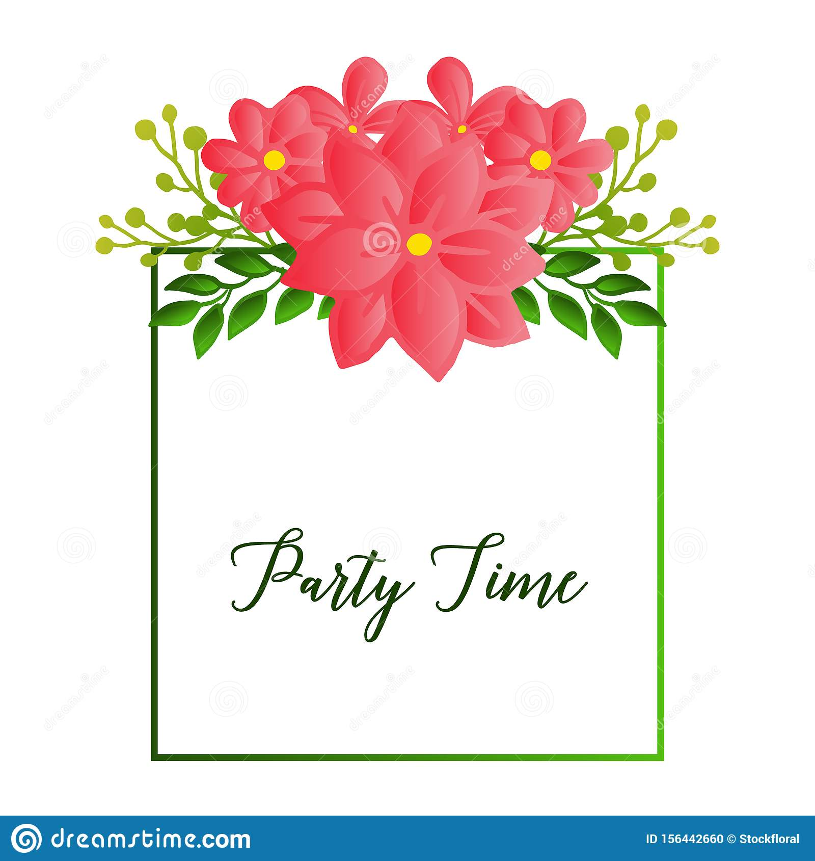 Party time text card, with simple retro design of leaf flower frame. Vector