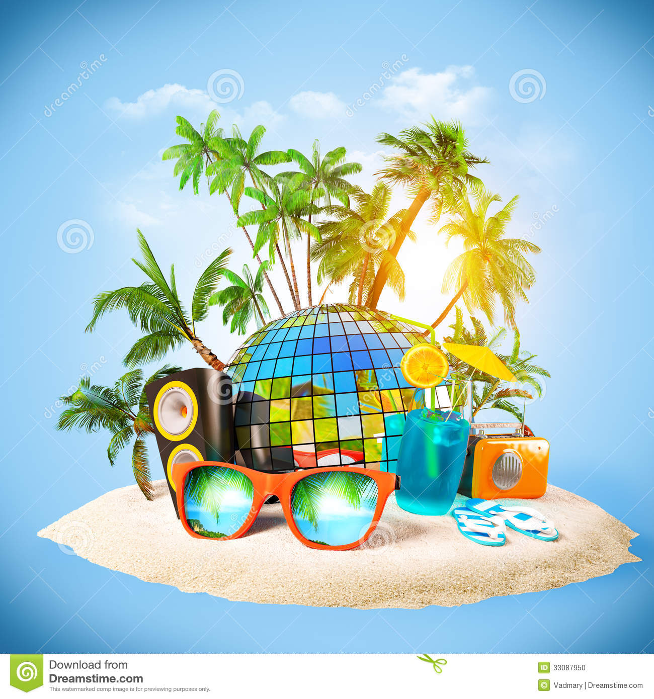 Party Island Beach: Party Stock Photo