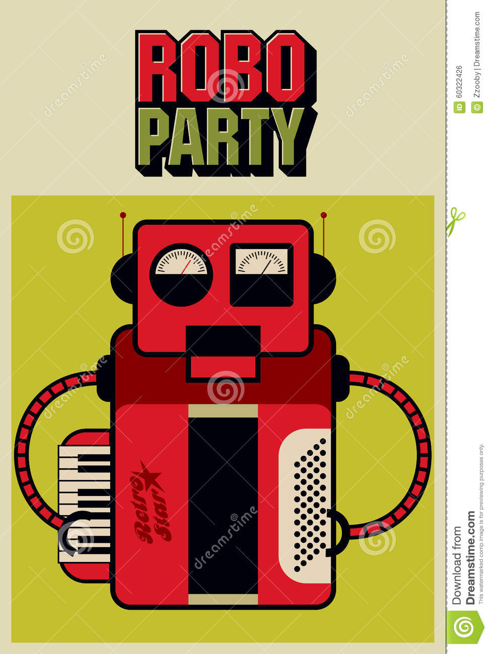 party vintage poster with retro robot vector illustration