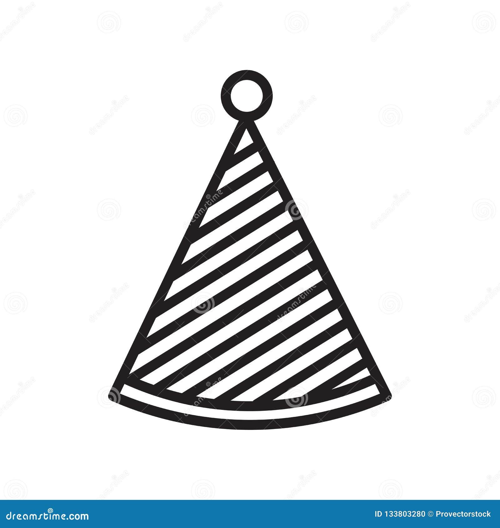 Partyjny kapeluszowy ikona wektoru znak i symbol odizolowywający na białym backgrou