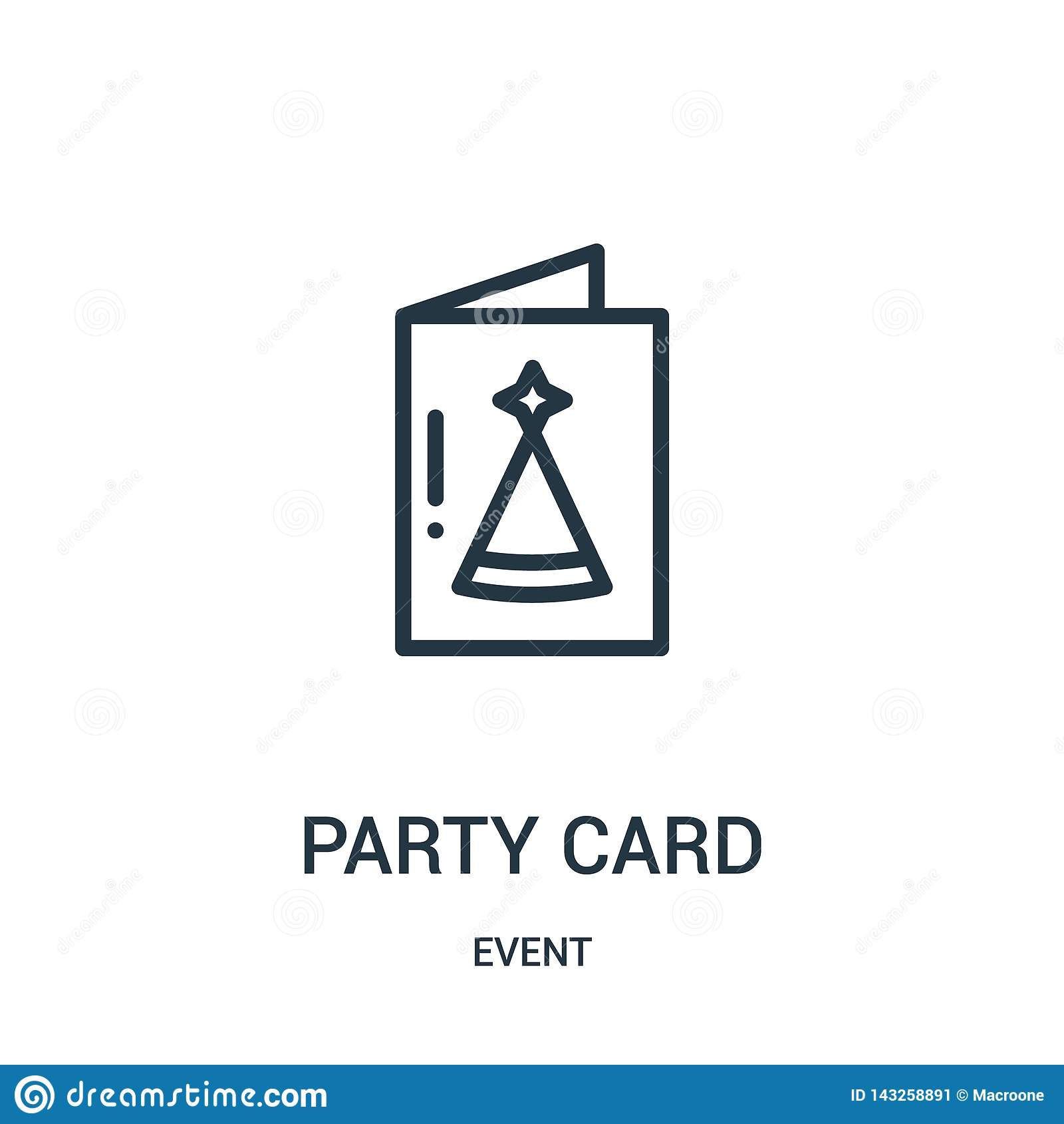 Partyjny karciany ikona wektor od wydarzenie kolekcji Cienka linii przyjęcia karty konturu ikony wektoru ilustracja