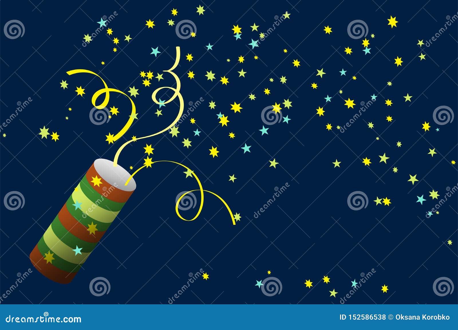 Partyjny krakers z confetti Świętować nowego roku, urodziny, rocznica