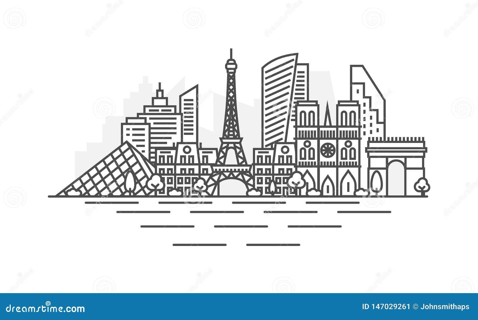 Paryż, Francja architektury linii linia horyzontu ilustracja Liniowy wektorowy pejza? miejski z s?awnymi punktami zwrotnymi, mias