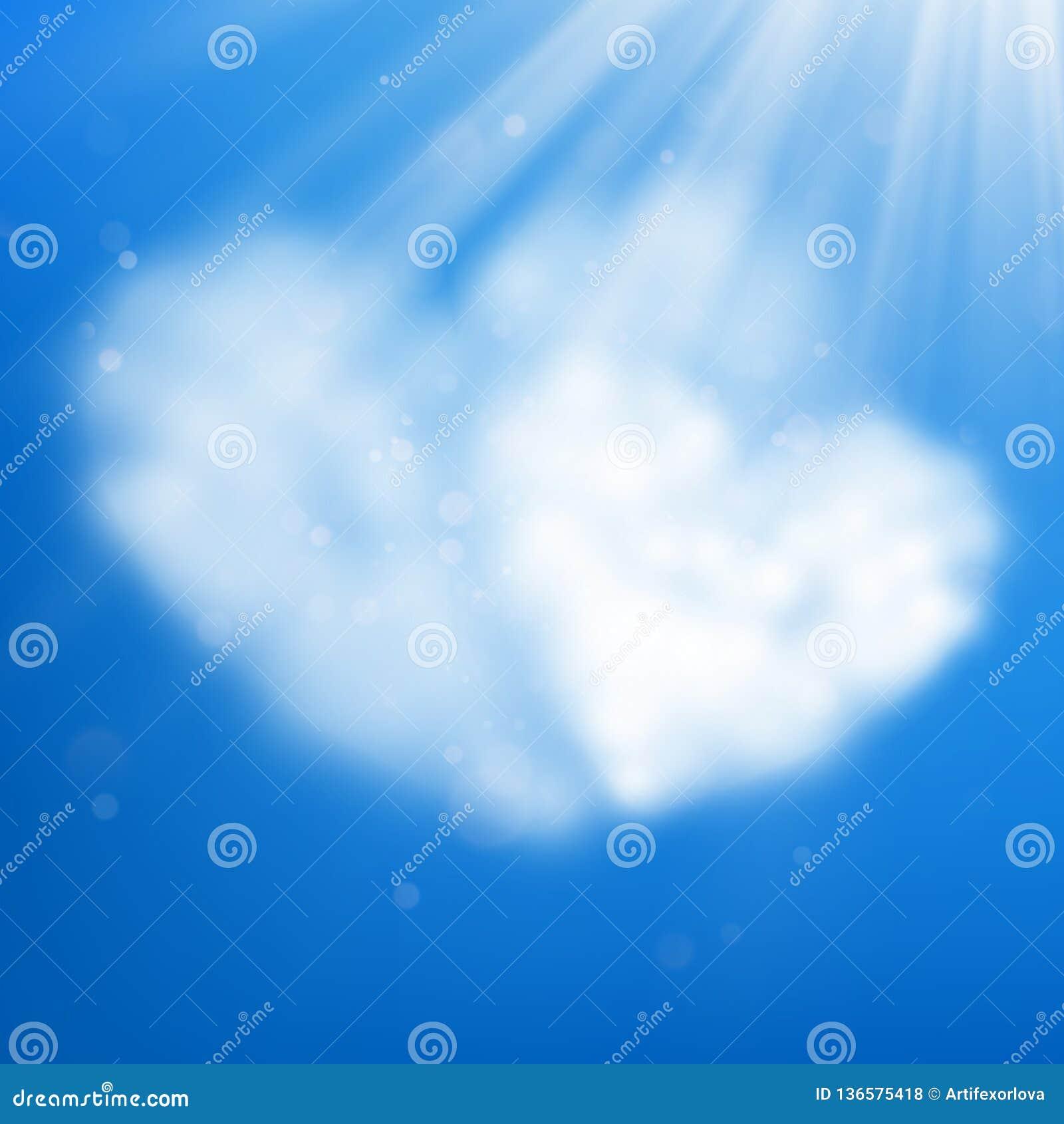Pary serce kształtująca chmura w niebieskim niebie Walentynki s dzień 10 eps