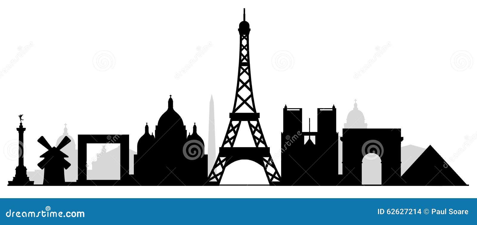 Paryska miasto budynków sylwetka