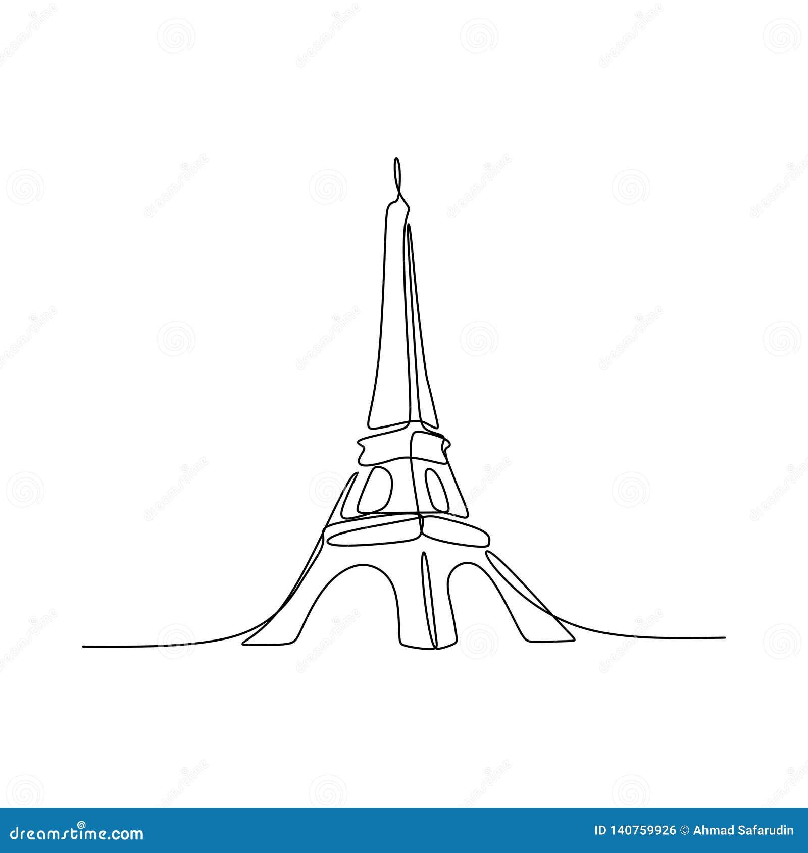 Paryska ręka rysujący wieży eiflej kreskowej sztuki wektorowy ilustracyjny ciągły pojedynczy rysunek odizolowywający na białym tl