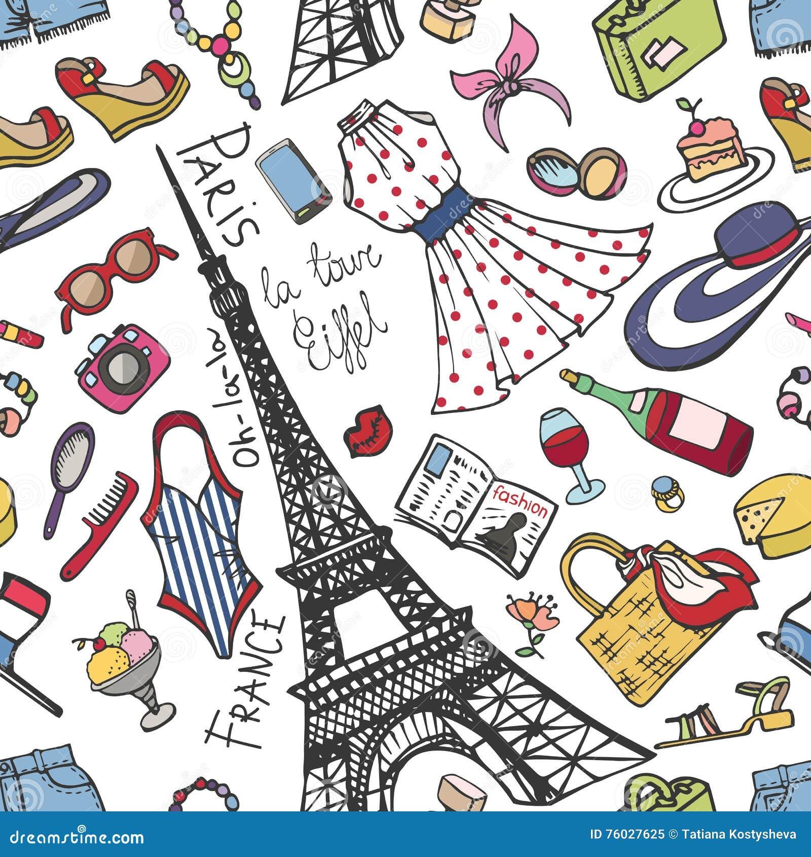 Paryskiej Francja mody bezszwowy wzór Lata Womancolored odzież