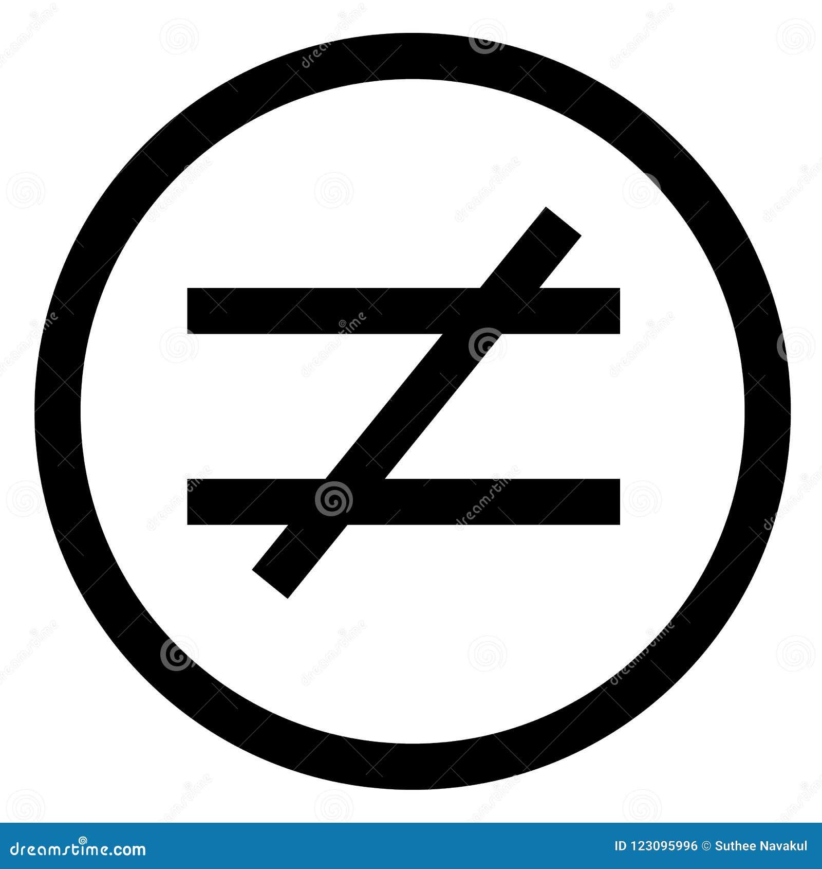 Pas signe d égalité Style plat illustration non égale d icône d isolement