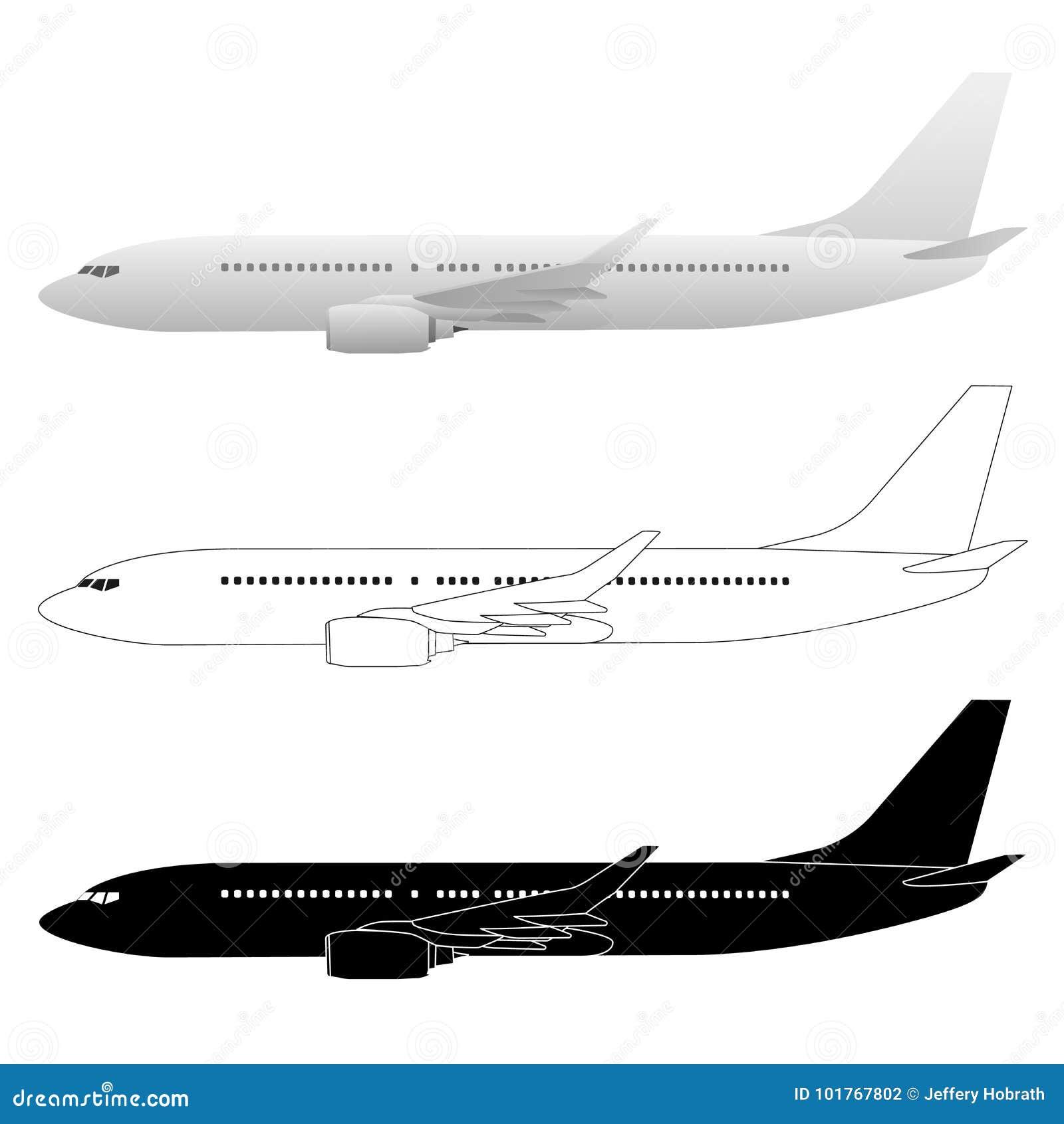 Pasajero comercial Jet Vector Illustrations del avión de pasajeros