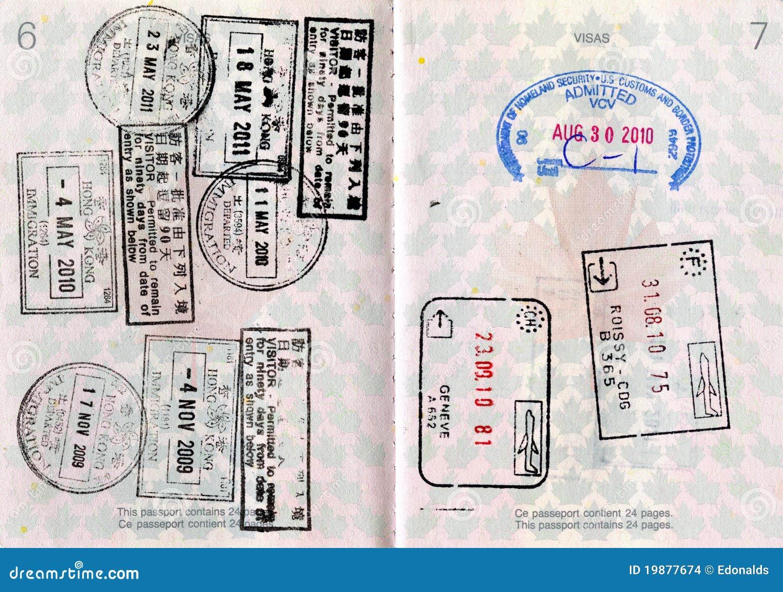 Pasaporte Canadiense Con Los Sellos Foto de archivo - Imagen de ...