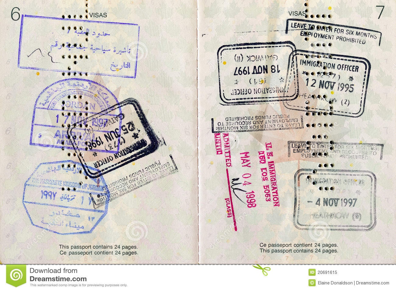 Pasaporte Canadiense Con Los Sellos Imagen de archivo - Imagen de ...