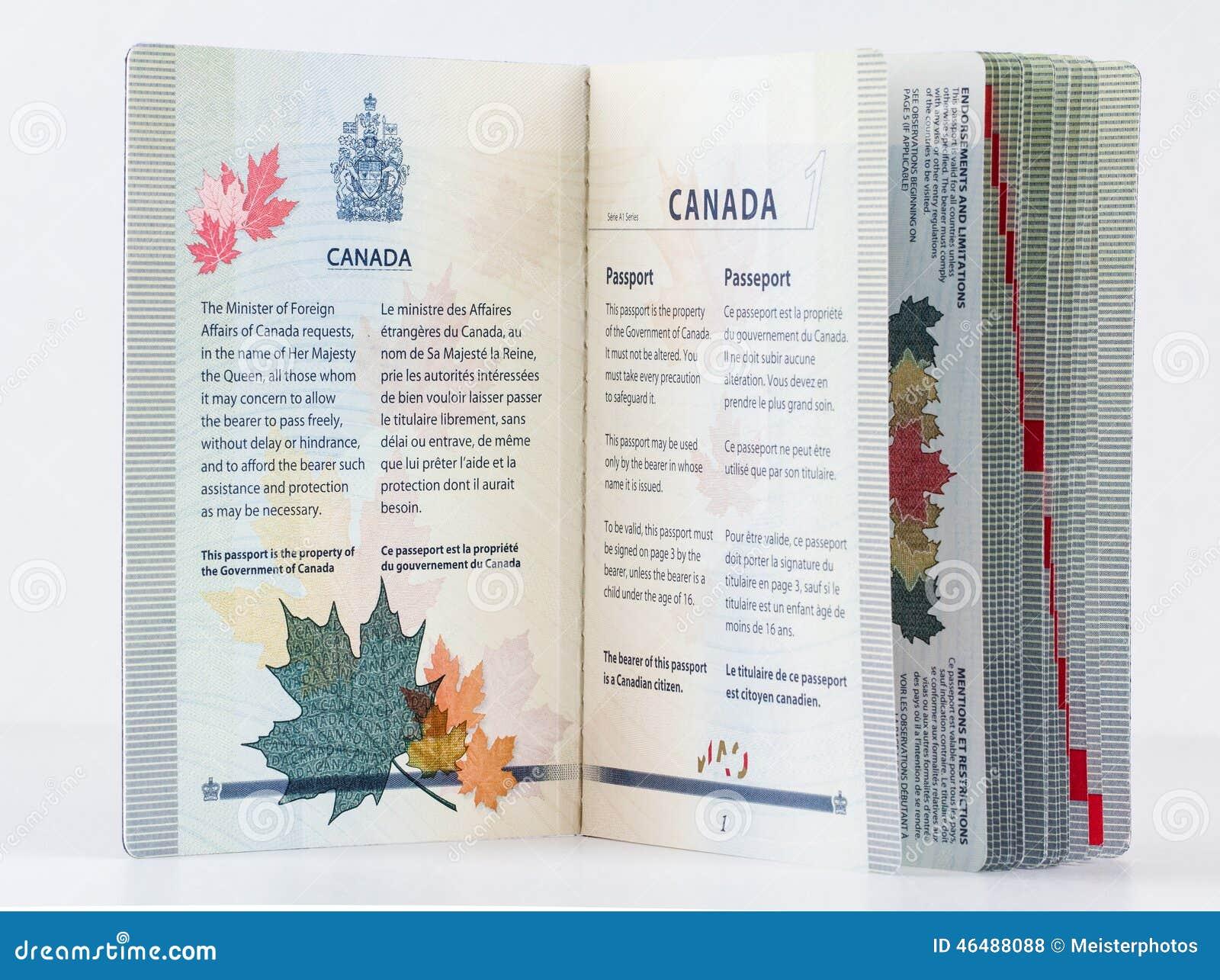 Pasaporte Canadiense 2014 De La Cubierta Interior Foto de archivo ...