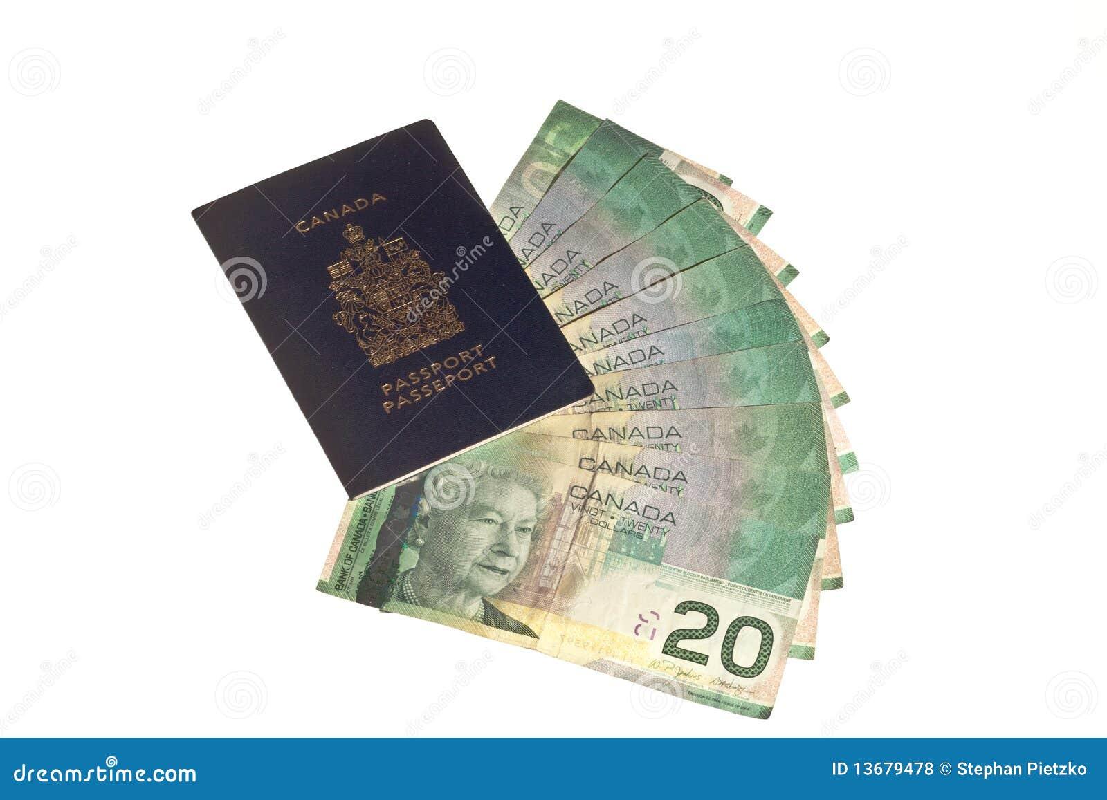 Pasaporte Canadiense Y Dinero Canadiense Foto de archivo - Imagen ...