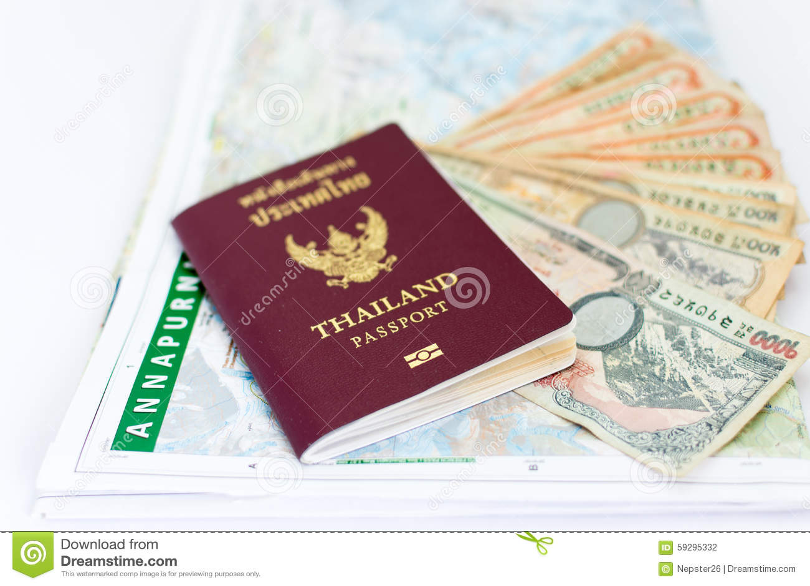 Pasaporte de Tailandia para el turismo con las notas del mapa y del Nepali de Nepal de la región de Annapurna