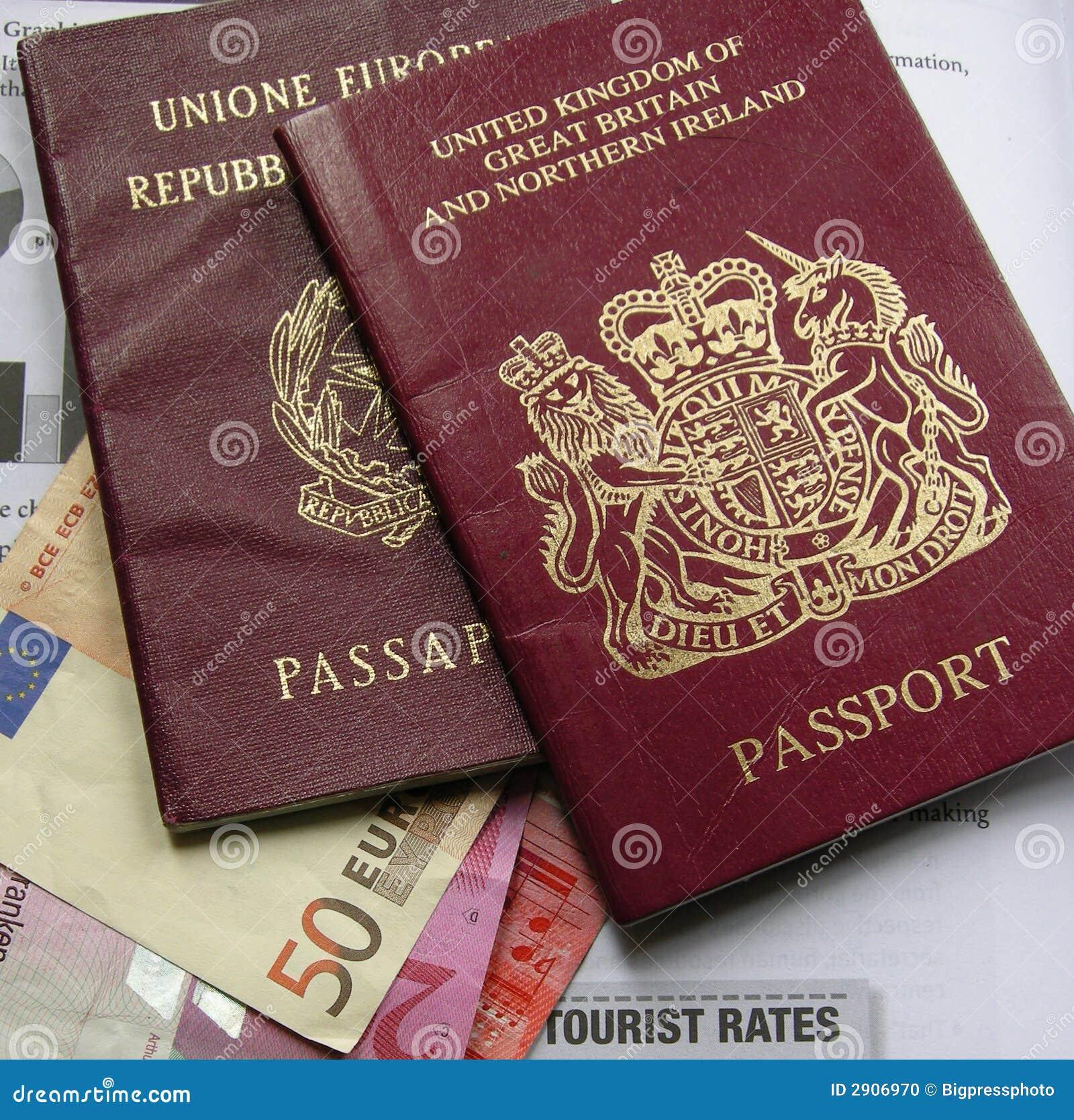 Pasaporte y euro británicos