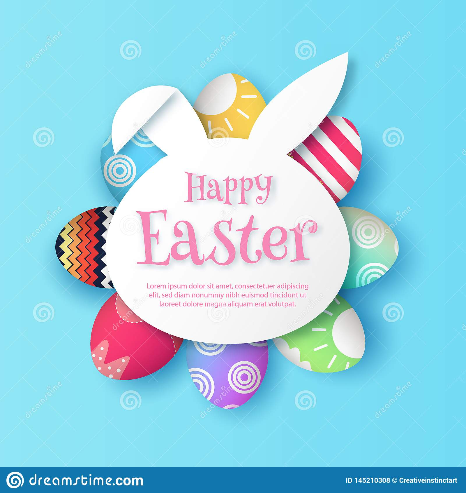 Pascua feliz, con el vector de papel EPS 10 del marco de la forma del conejito del conejo