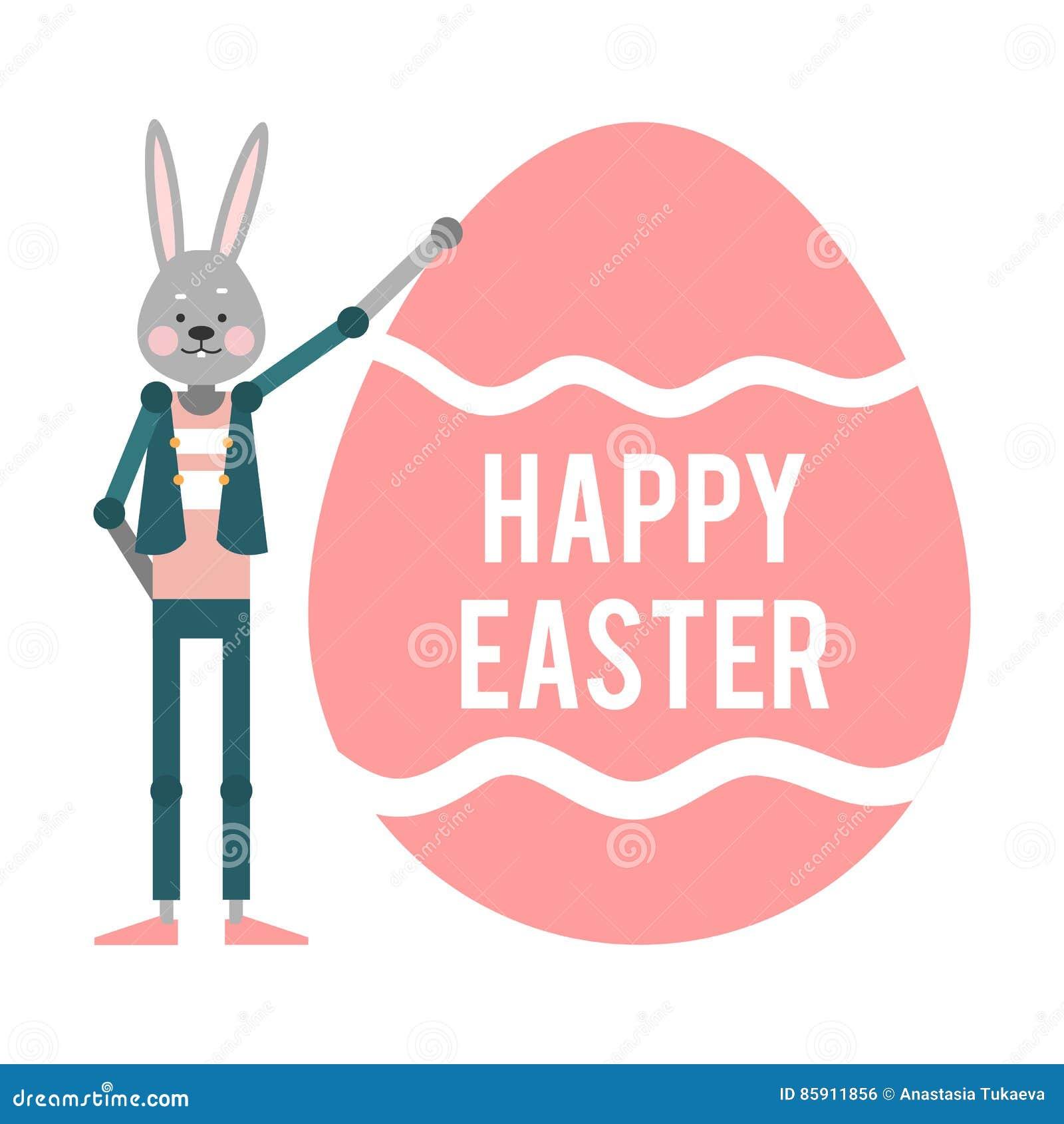 Pascua Feliz Conejo De La Historieta Que Sostiene Un Huevo Rosado ...