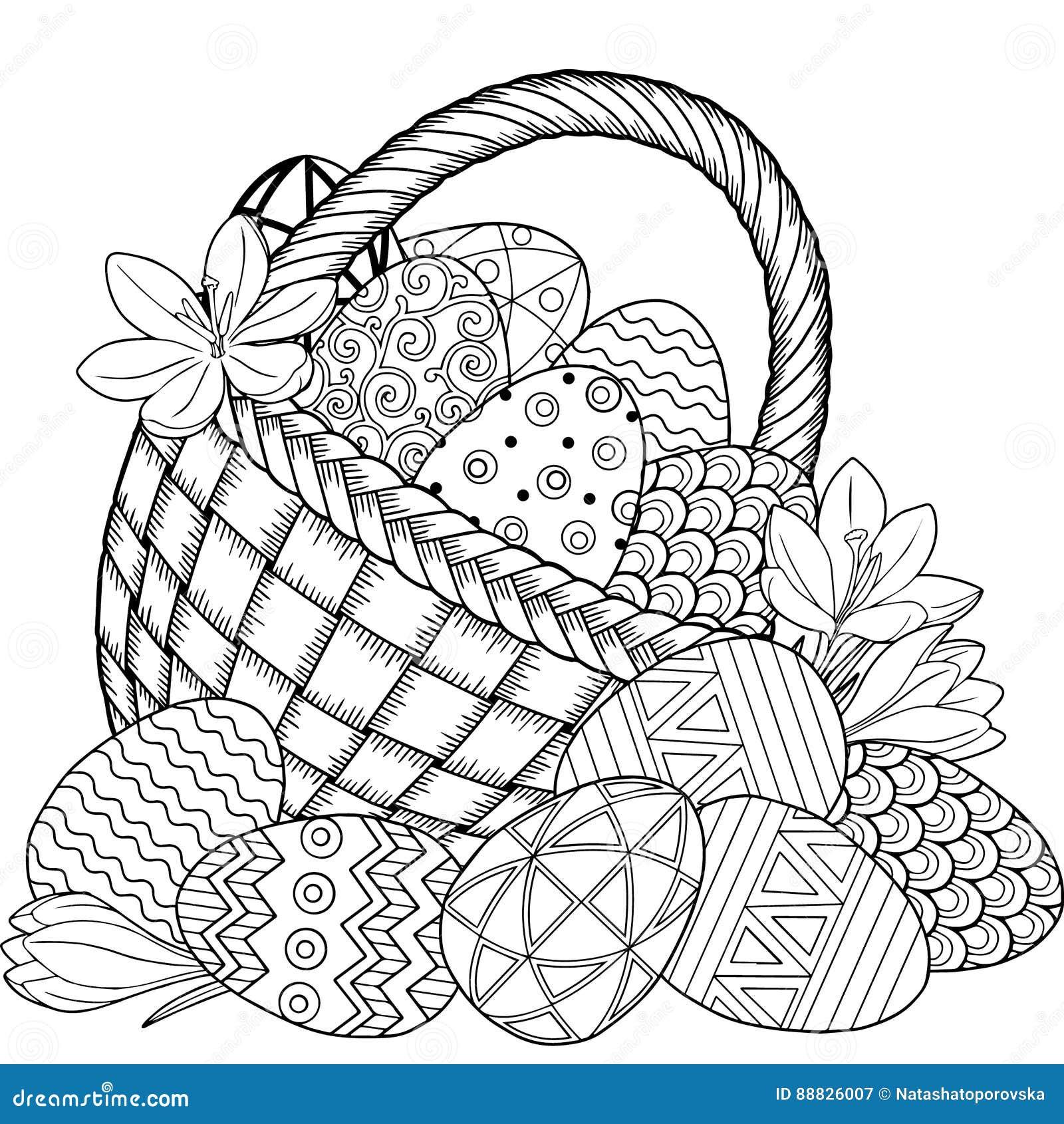Pascua Feliz Huevos De Pascua Blancos Y Negros Del Garabato En La ...