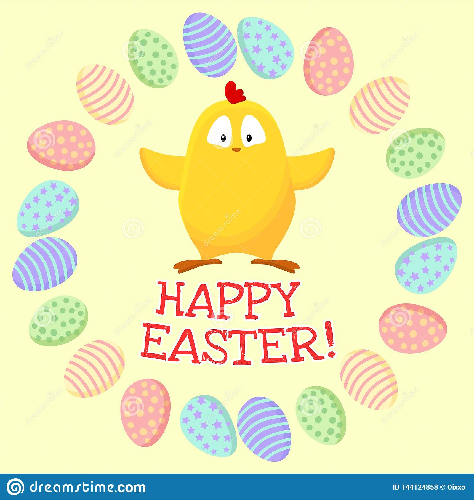 Pascua feliz Peque?o pollo amarillo lindo en una guirnalda de los huevos de Pascua