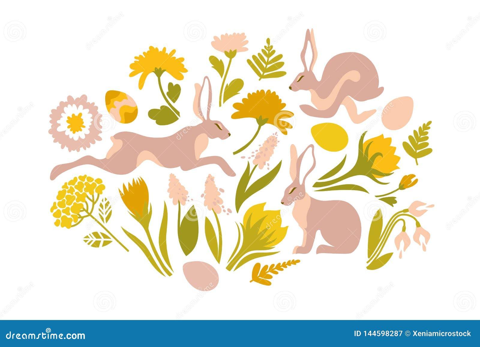 Pascua fijó de los objetos para el diseño Impresión para Pascua Conejos y flores de salto de la primavera, helechos