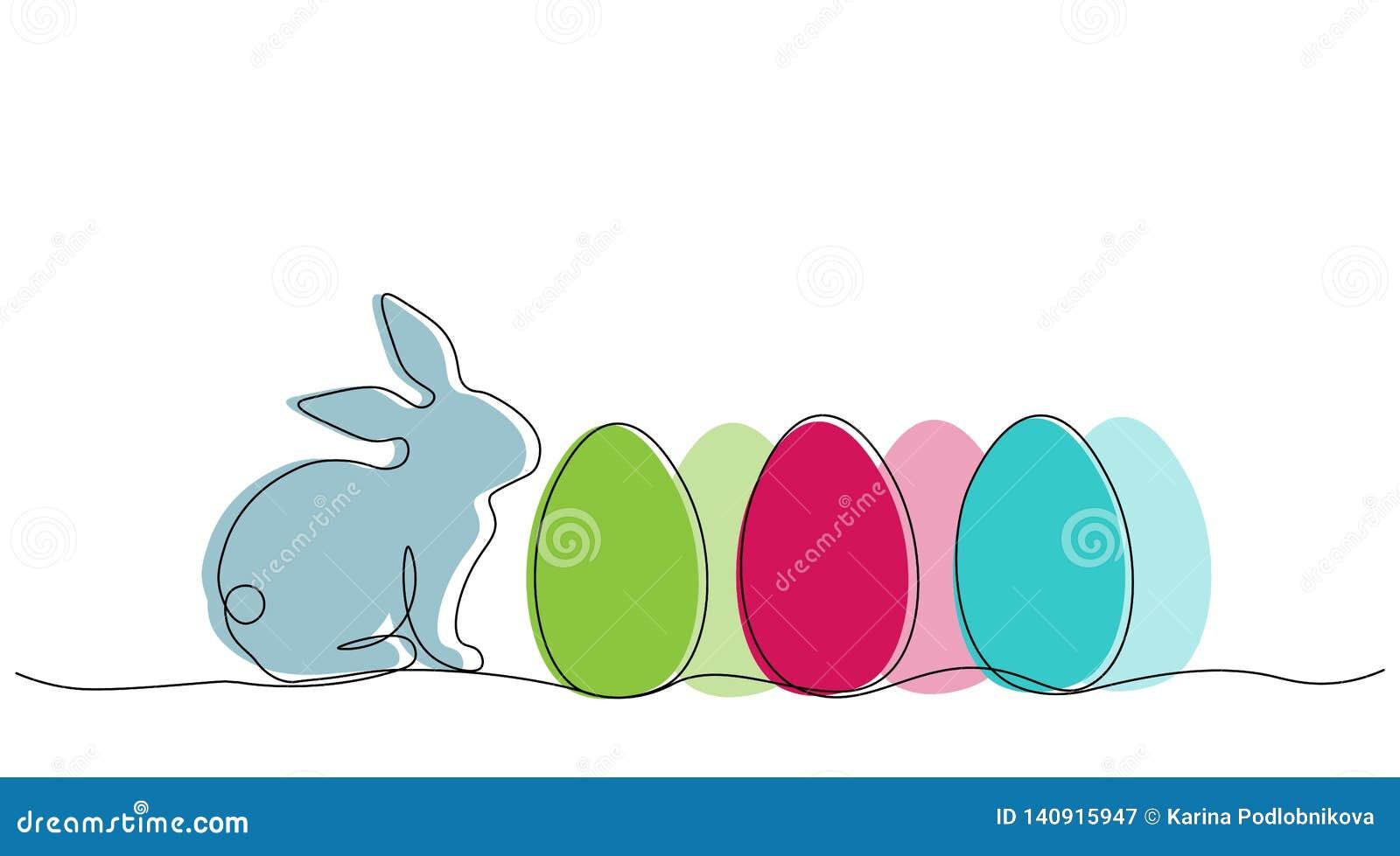 Pasen-achtergrond met Pasen-konijntje en eieren, vectorillustratie