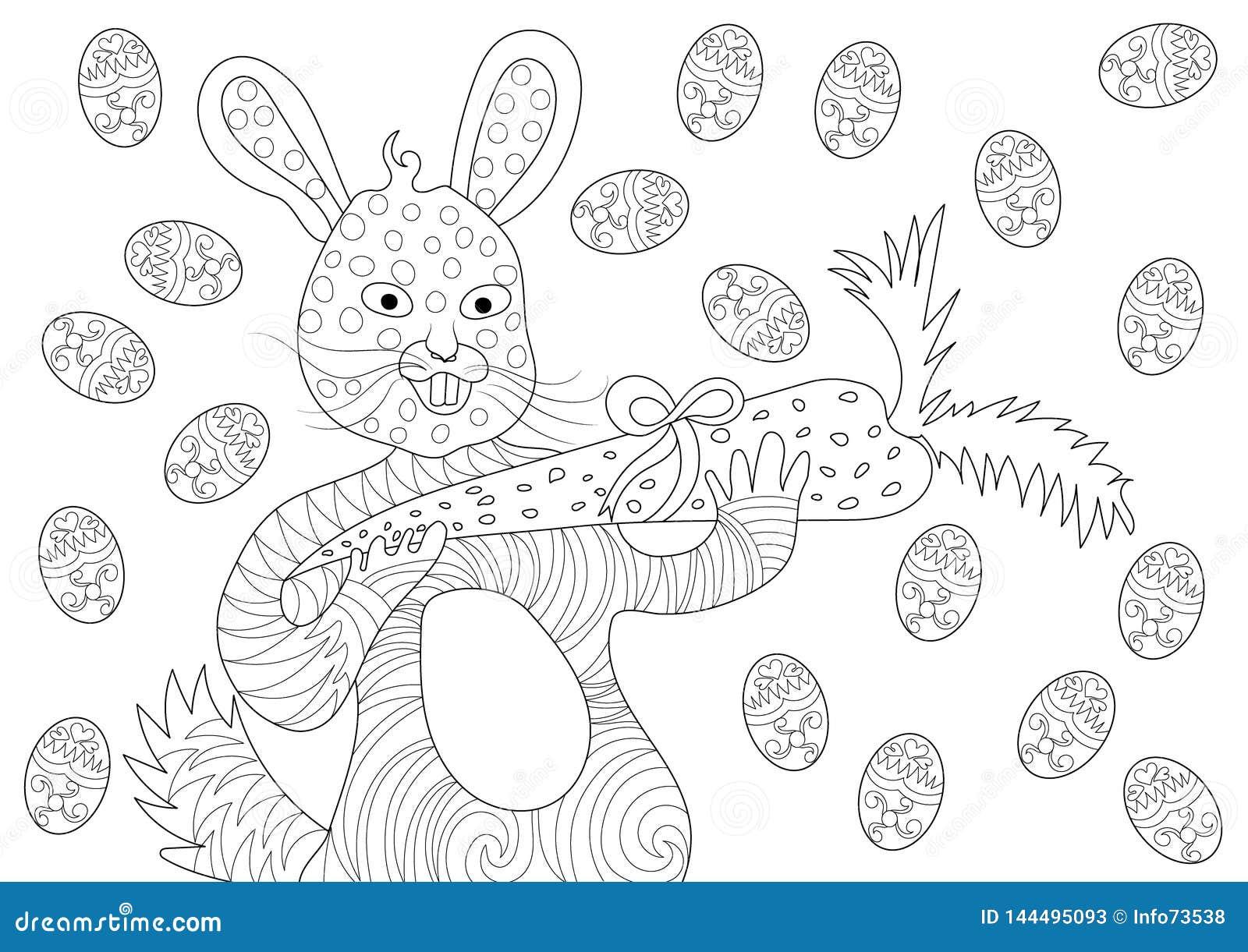 Pasen Bunny Eating Carrot en Gelukkig met Eieren in het Kleuren van Boekpatroon