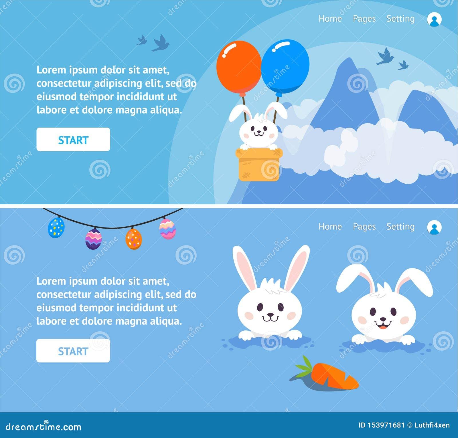 Pasen-Dag met Konijntje voor Websitebanners of Presentatieachtergronden