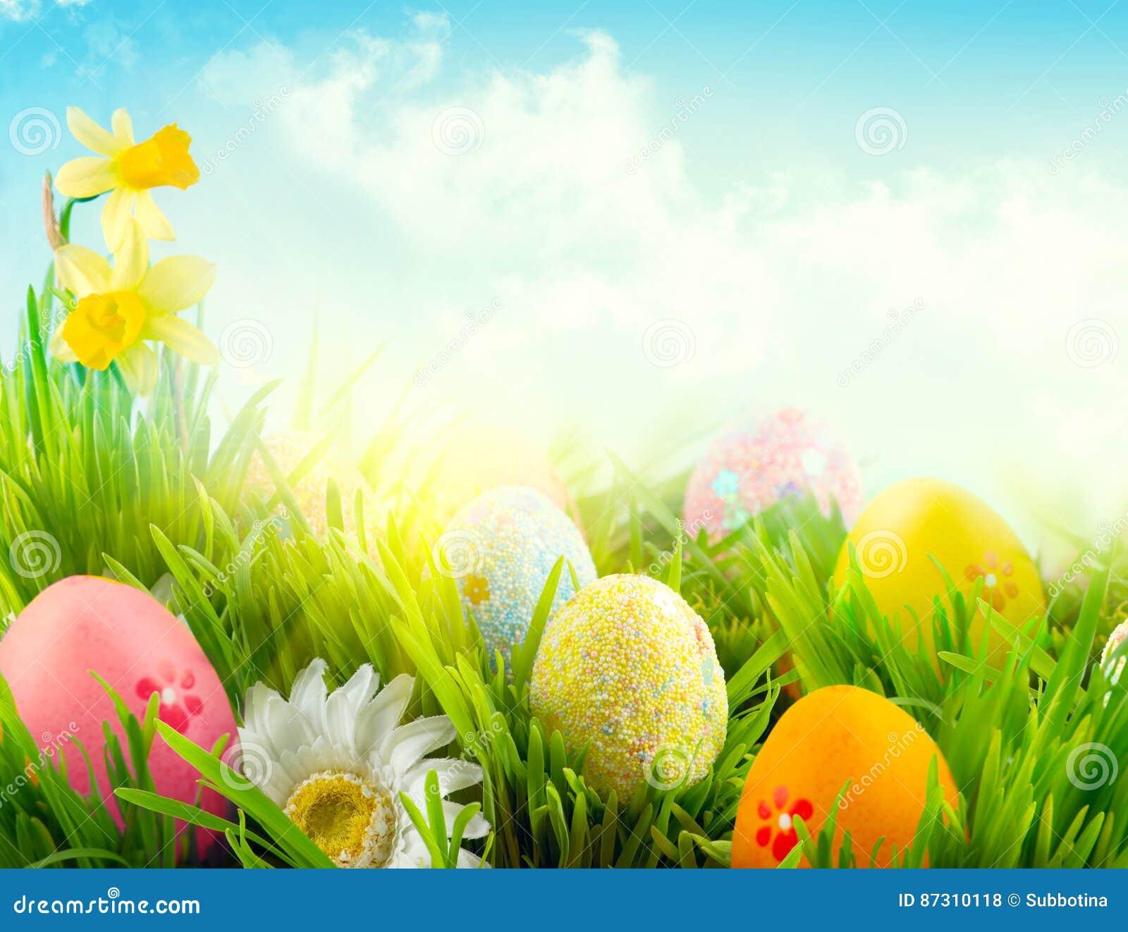 Pasen-de scèneachtergrond van de aardlente Mooie kleurrijke eieren in de weide van het de lentegras