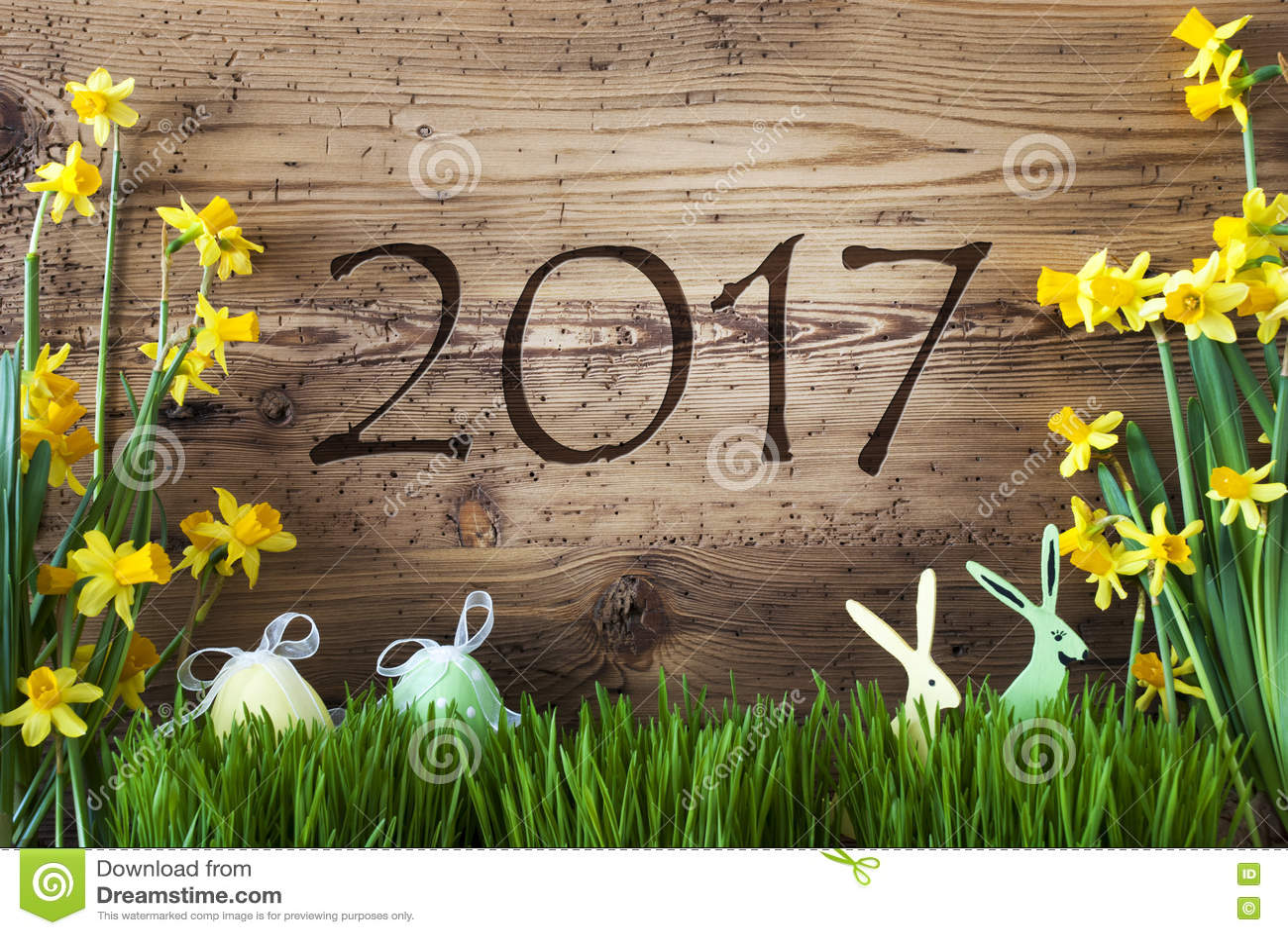 Pasen-Decoratie, Gras, Tekst 2017 Stock Foto - Afbeelding: 81889806